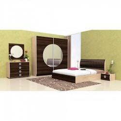 Camera da letto matrimoniale Rovere chiaro + Rovere scuro moderna con vano contenitore modello Dallas