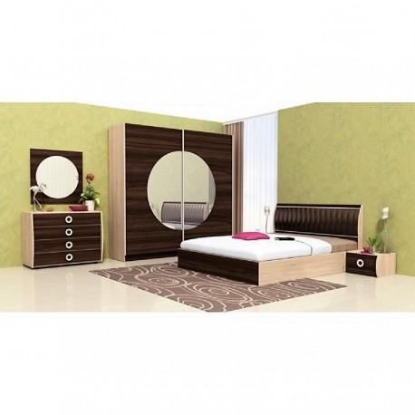 Camera da letto matrimoniale Rovere sabbia + Rovere cappuccino moderna con vano contenitore modello Dallas