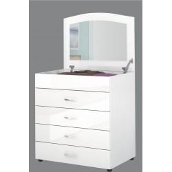 Cassettiera con quattro cassetti e specchio a scomparsa bianco lucido Design