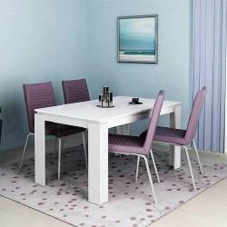 Tavolo da pranzo allungabile moderno modello Havana design accattivante Bianco lucido