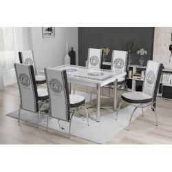 Tavolo allungabile stile Versace sala da pranzo con sei sedie design elegante