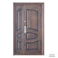 Portone blindato porta ingresso due ante 201-120 A07 color Noce con venature