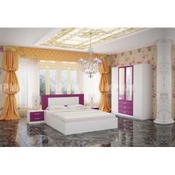 Camera da letto matrimoniale moderna rete a doghe City 7017 bianca design