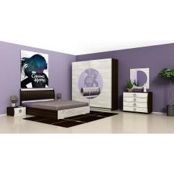 Camera da letto matrimoniale Rovere scuro + Bianco anticato moderna con vano contenitore modello Dallas