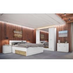 Camera da letto matrimoniale modello Bianca completa di rete a doghe design